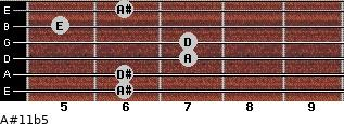 A#11b5 for guitar on frets 6, 6, 7, 7, 5, 6
