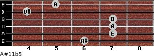 A#11b5 for guitar on frets 6, 7, 7, 7, 4, 5