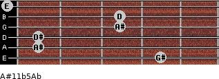 A#11b5/Ab for guitar on frets 4, 1, 1, 3, 3, 0