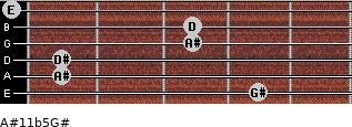 A#11b5/G# for guitar on frets 4, 1, 1, 3, 3, 0