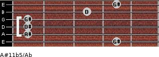 A#11b5/Ab for guitar on frets 4, 1, 1, 1, 3, 4