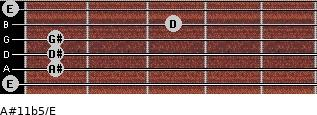 A#11b5/E for guitar on frets 0, 1, 1, 1, 3, 0