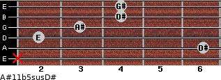 A#11b5sus/D# for guitar on frets x, 6, 2, 3, 4, 4