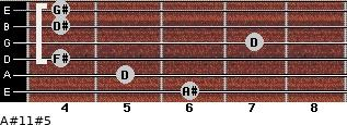 A#11#5 for guitar on frets 6, 5, 4, 7, 4, 4