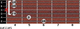 A#11#5 for guitar on frets 6, 5, 4, x, 4, 4