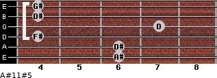 A#11#5 for guitar on frets 6, 6, 4, 7, 4, 4