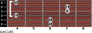 A#11#5 for guitar on frets 6, 6, 4, 7, 7, 4