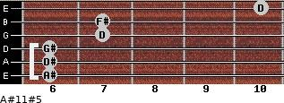 A#11#5 for guitar on frets 6, 6, 6, 7, 7, 10