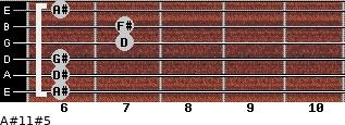 A#11#5 for guitar on frets 6, 6, 6, 7, 7, 6