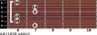A#11#5/B add(m2) for guitar on frets 7, 6, 6, 7, 7, 6