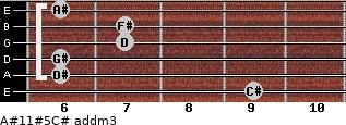 A#11#5/C# add(m3) for guitar on frets 9, 6, 6, 7, 7, 6