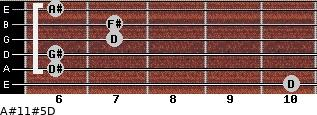 A#11#5/D for guitar on frets 10, 6, 6, 7, 7, 6