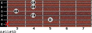 A#11#5/D for guitar on frets x, 5, 4, 3, 4, 4