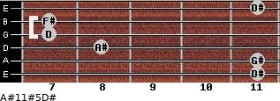 A#11#5/D# for guitar on frets 11, 11, 8, 7, 7, 11