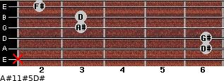 A#11#5/D# for guitar on frets x, 6, 6, 3, 3, 2