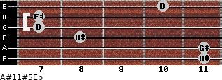 A#11#5/Eb for guitar on frets 11, 11, 8, 7, 7, 10