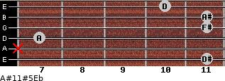 A#11#5\Eb for guitar on frets 11, x, 7, 11, 11, 10