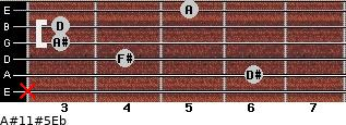 A#11#5\Eb for guitar on frets x, 6, 4, 3, 3, 5