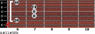 A#11#5\Eb for guitar on frets x, 6, 7, 7, 7, 6