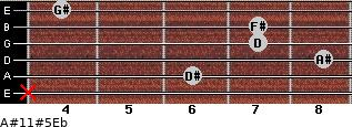 A#11#5/Eb for guitar on frets x, 6, 8, 7, 7, 4
