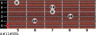 A#11#5\Eb for guitar on frets x, 6, 8, 7, 7, 5