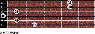 A#11#5/F# for guitar on frets 2, 1, 0, 1, 4, 4
