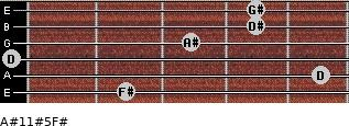 A#11#5/F# for guitar on frets 2, 5, 0, 3, 4, 4