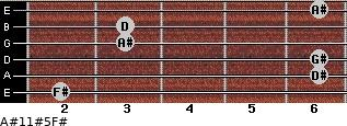 A#11#5/F# for guitar on frets 2, 6, 6, 3, 3, 6