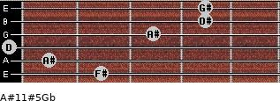 A#11#5/Gb for guitar on frets 2, 1, 0, 3, 4, 4