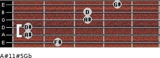 A#11#5/Gb for guitar on frets 2, 1, 1, 3, 3, 4