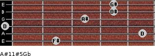 A#11#5/Gb for guitar on frets 2, 5, 0, 3, 4, 4