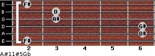 A#11#5/Gb for guitar on frets 2, 6, 6, 3, 3, 2
