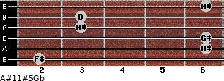 A#11#5/Gb for guitar on frets 2, 6, 6, 3, 3, 6