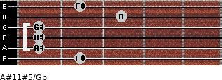 A#11#5/Gb for guitar on frets 2, 1, 1, 1, 3, 2