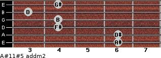A#11#5 add(m2) for guitar on frets 6, 6, 4, 4, 3, 4