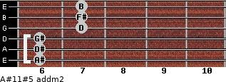 A#11#5 add(m2) for guitar on frets 6, 6, 6, 7, 7, 7