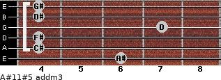 A#11#5 add(m3) for guitar on frets 6, 4, 4, 7, 4, 4