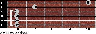 A#11#5 add(m3) for guitar on frets 6, 6, 6, 6, 7, 10