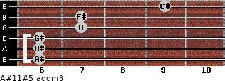 A#11#5 add(m3) for guitar on frets 6, 6, 6, 7, 7, 9