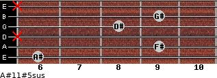 A#11#5sus for guitar on frets 6, 9, x, 8, 9, x