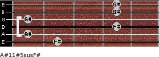 A#11#5sus/F# for guitar on frets 2, 1, 4, 1, 4, 4