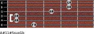 A#11#5sus/Gb for guitar on frets 2, 1, 1, 3, 4, 4