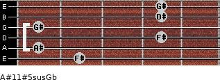 A#11#5sus/Gb for guitar on frets 2, 1, 4, 1, 4, 4