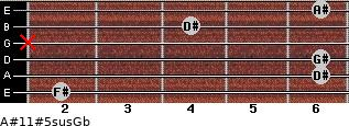 A#11#5sus/Gb for guitar on frets 2, 6, 6, x, 4, 6