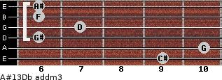 A#13/Db add(m3) guitar chord