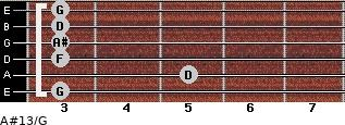 A#13/G for guitar on frets 3, 5, 3, 3, 3, 3