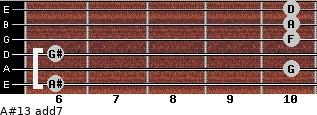 A#13 add(7) for guitar on frets 6, 10, 6, 10, 10, 10