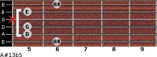 A#13b5 for guitar on frets 6, 5, 5, x, 5, 6