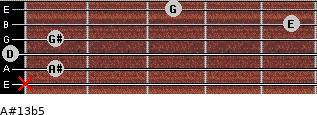 A#13b5 for guitar on frets x, 1, 0, 1, 5, 3