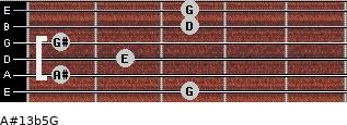 A#13b5/G for guitar on frets 3, 1, 2, 1, 3, 3